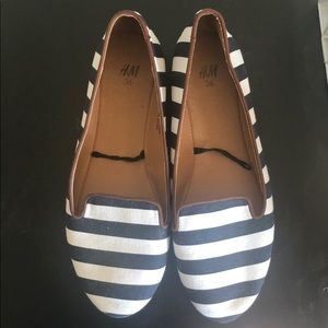 H&M Navy and White Striped Loafer Flats